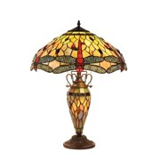 Chloe Lighting Tiffany Style Dragonfly Design Double Lit 2 + 1-light Dark Bronze Table Lamp
