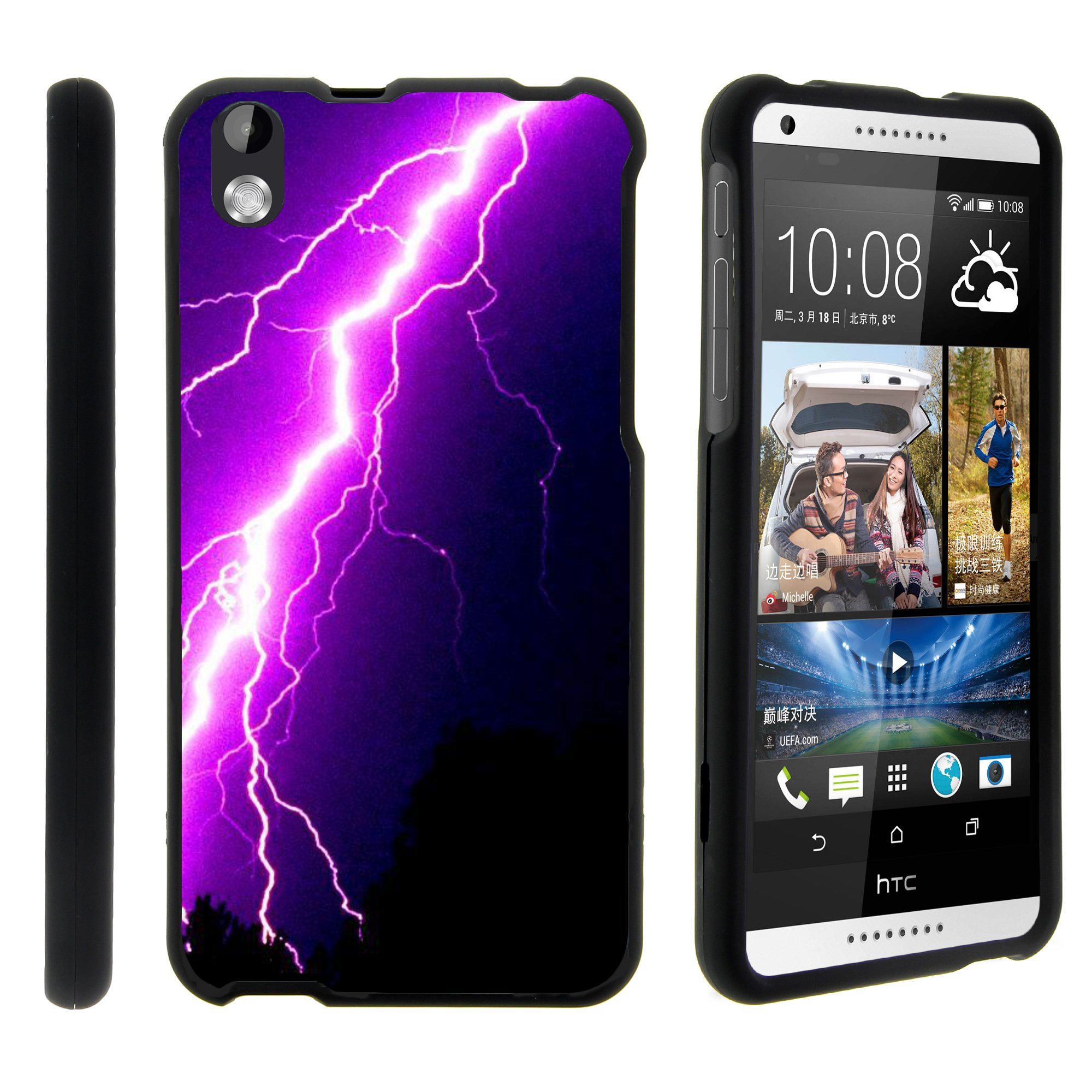 HTC Desire 816, [SNAP SHELL][Matte Black] 2 Piece Snap On Rubberized Hard Plastic Cell Phone Case with Exclusive Art - Purple Lightning Bolt