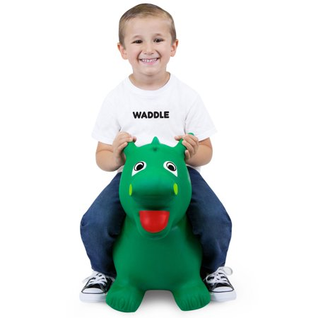 Waddle Riding Animal Hopper | Green Dragon Jumper Drake | Dinosaur Inflatable Ride On Toys |Jumping Toy For Children and Toddlers | Favorite Boys Holiday Toy | Best Gift Idea