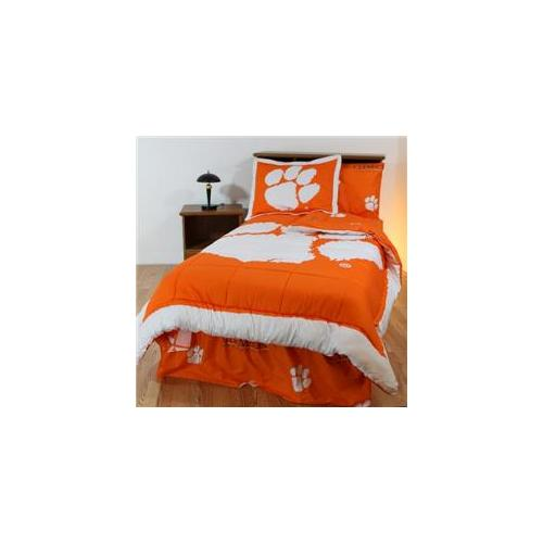 College Covers CLEBBTWW Clemson Bed in a Bag Twin- With White Sheets