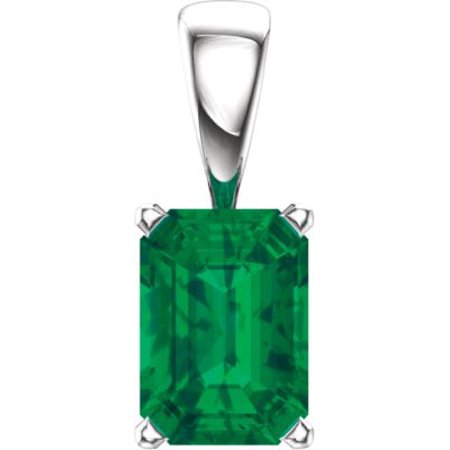 Scroll Pendant Setting (14kt White Chatham?? Created Emerald Pendant 85861 / 14Kt White / Complete With Stone / Emerald / Polished / Emerald Scroll)