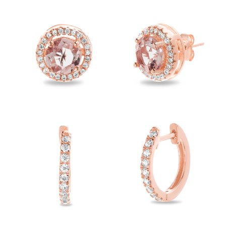 Lesa Michele Women's Simulated Morganite And Cubic Zirconia Round 10MM Halo Stud and Round 15MM Huggie Hoop 2pc Earring Set in Rose Gold Plated Sterling Silver