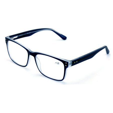 Large Frame Glasses - Large Men Premium Rectangular Reading Glasses Optical Frame Reader Spring Hinge