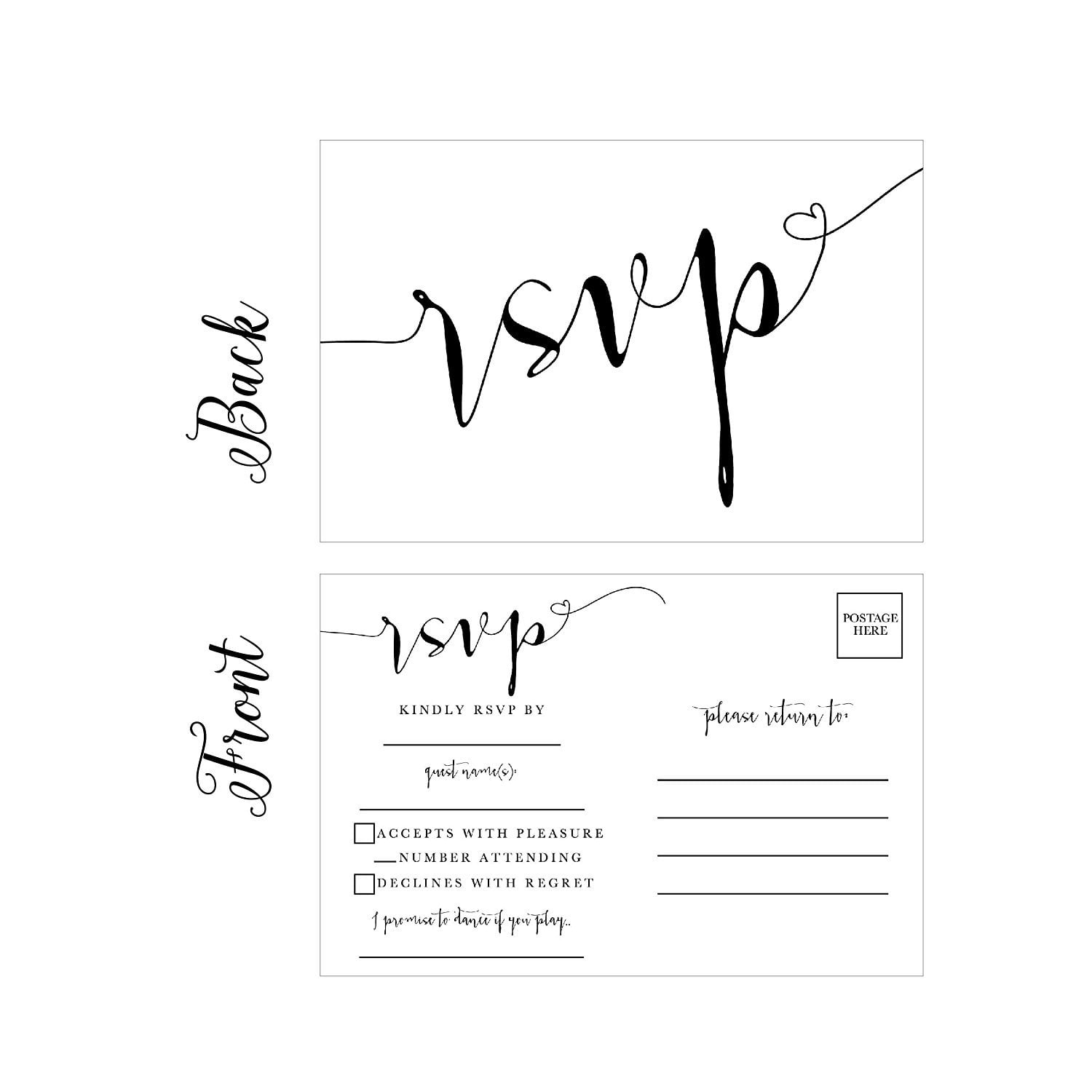 Wedding Invitation Postcard: 50 Blank RSVP Cards, RSVP Postcards No Envelopes Needed