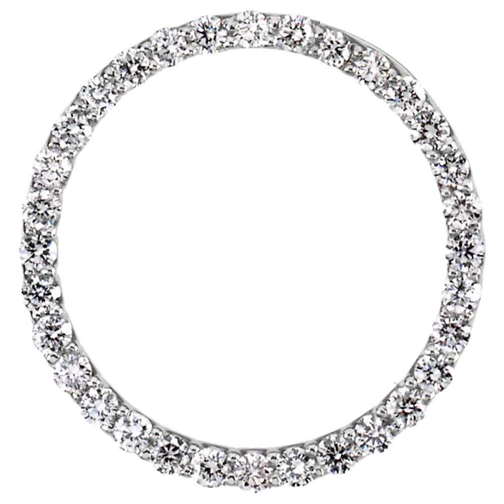 950 Platinum White Diamond Prong Set Circle Pendant Charm by