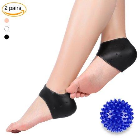 Sonew 2 Pairs Plantar Fasciitis Gel Heel Protectors Heel Pads With Foot Massage Ball,Heel Sleeves & Massage