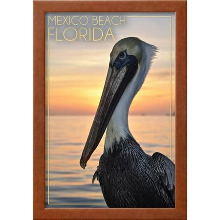 Mexico Beach, Florida - Pelican Framed Art Print Wall Art By Lantern ...