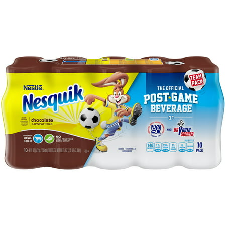 - Nestle Nesquik Low-Fat Chocolate Milk, 8 Fl. Oz., 10 Count