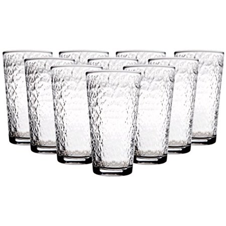 Palais Martele Collection; Hammered Glass Sets, Select Your Favorite From Highballs - 17 Oz -, to DOF - 13 Oz - (Double Old Fashioned), or Juice - 7 Oz - Glasses or a Combination (Set of 10 - 17 OZ Hi