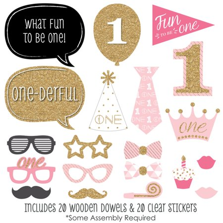 1st Birthday Themes For Girls (1st Birthday Girl - Fun to be One - Photo Booth Props Kit - 20)