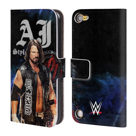 OFFICIAL WWE 2017 AJ STYLES LEATHER BOOK WALLET CASE COVER FOR APPLE IPOD TOUCH MP3