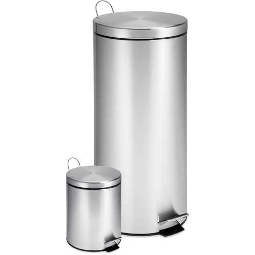 Honey Can Do 7.9 Gallon and 0.8 Gallon Round Step Trash Can Combo, Stainless Steel by Honey Can Do