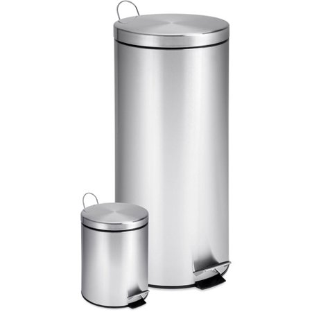 Honey Can Do 7 9 Gallon and 0 8 Gallon Round Step Trash Can Combo   Stainless Steel. Honey Can Do 7 9 Gallon and 0 8 Gallon Round Step Trash Can Combo