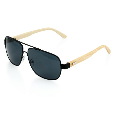 Premium Vintage Wood Wooden Classic Mirrored Fashion Aviator Bamboo Pilot Style Sunglasses Black Frame with Gray Lens