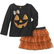 Baby Toddler Girl Long Sleeve Graphic Tee and Tutu 2-Piece Outfit Set