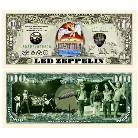 "5 Led Zeppelin Million Dollar Bill with Bonus ""Thanks a Million"" Gift Card Set - Led Coupons"