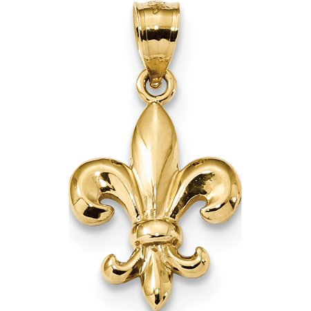 Leslies Fine Jewelry Designer 14k Yellow Gold Polished Fleur de Lis (14.1x25mm) Pendant Gift