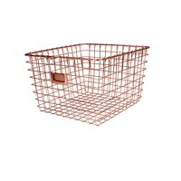 Spectrum Diversified Wire Storage Basket, Vintage Locker Basket Style, Rustic Farmhouse Chic, Steel Storage for Closets, Pantry, Kitchen, Garage, Bathroom & More, Medium, Copper