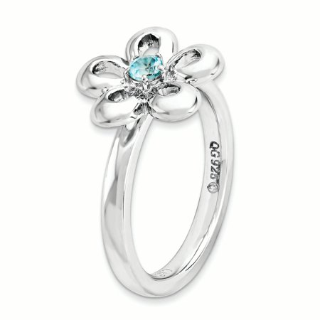 Sterling Silver Stackable Expressions Polished Blue Topaz Flower Ring Size 8 - image 3 of 3