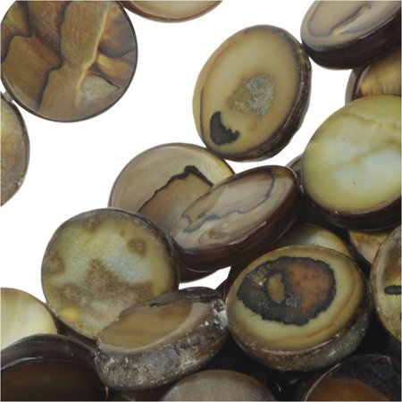 Natural Shell Beads, Flat Coins 10mm, 15.5 Inch Strand, (Multi Strand Coin)