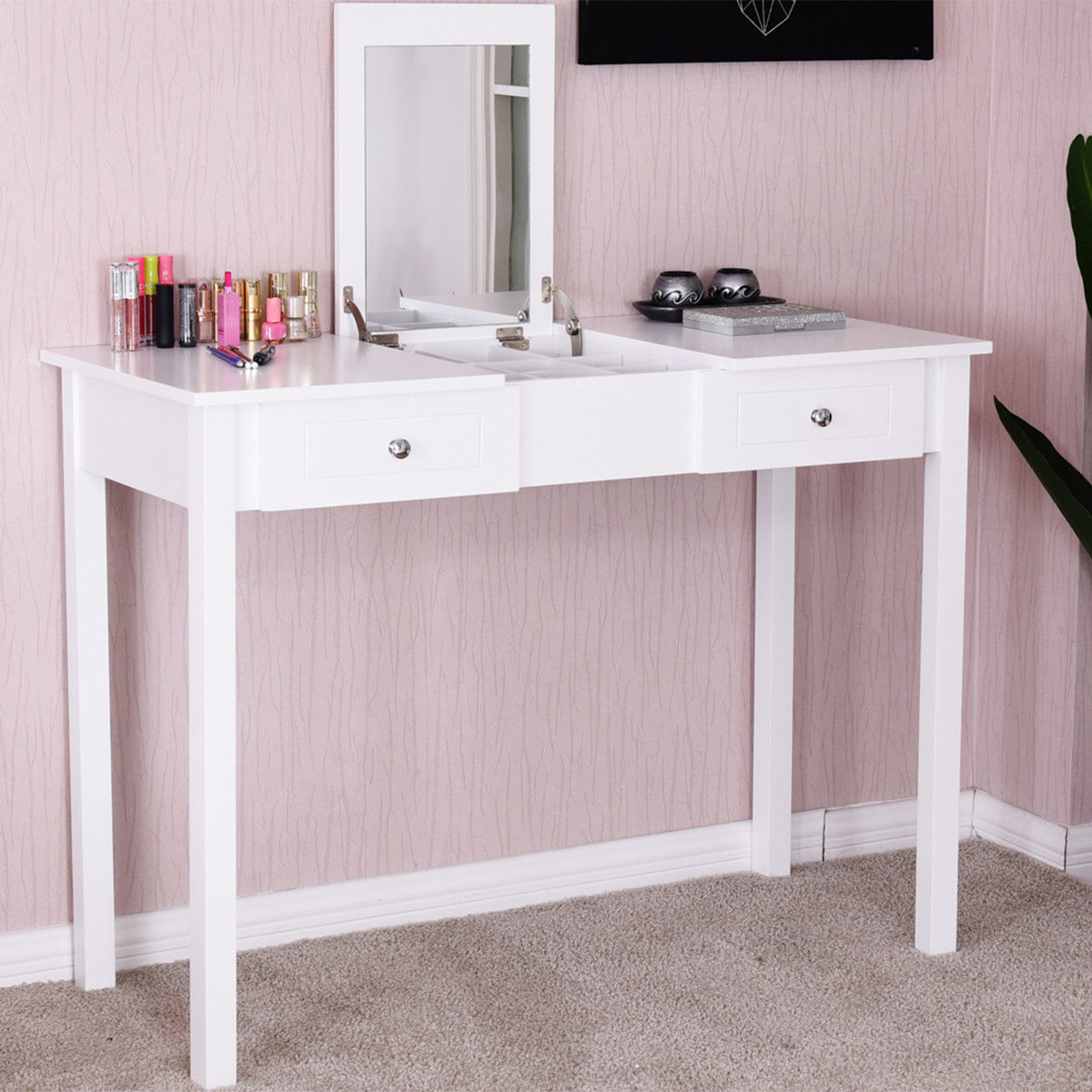 Delicieux Costway Vanity Table Dressing Table Flip Top Desk Mirror 2 Drawers  Furniture White