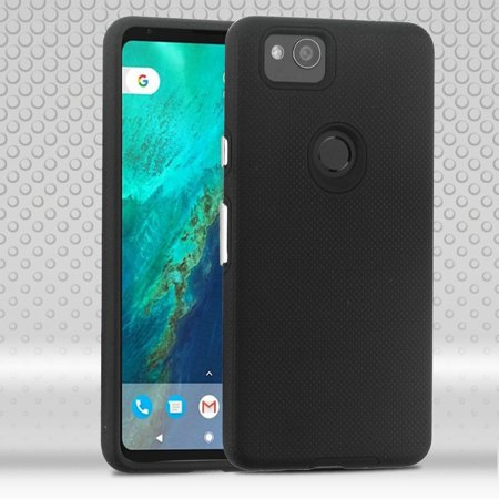 Google Pixel 2 Case, by MyBat Dots Textured Fusion Dual Layer [Shock Absorbing] Hybrid Hard Plastic/Soft TPU Rubber Case Cover For Google Pixel 2, Black