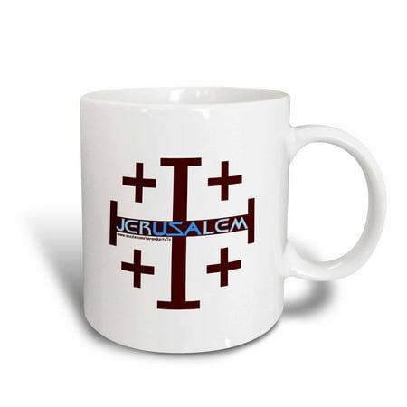 3dRose Jerusalem Cross - Ceramic Mug, 11-ounce