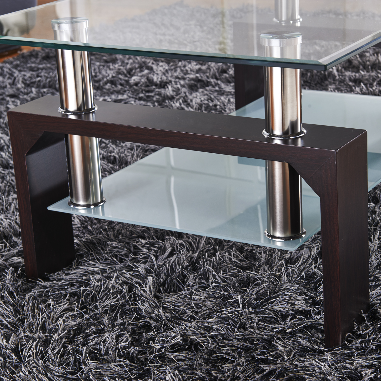 Rectangular Glass Coffee Table Shelf Chrome Walnut Wood Living Room ...
