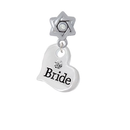 Large Bride Heart   Star Of David With Clear Crystal Charm Bead