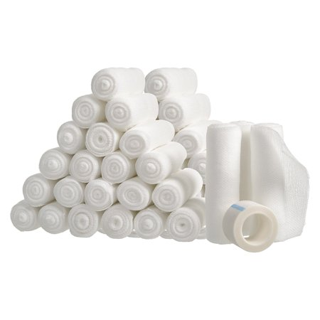 "48 pk 4"" x 4 Yds White Gauze Bandage Roll w Medical Tape Stretch Rolls First Aid"