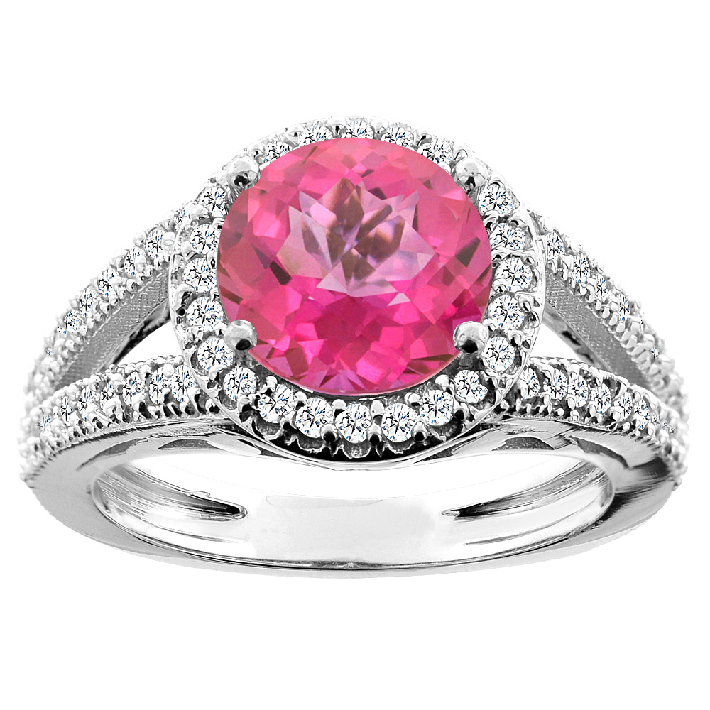 10K White Gold Natural Pink Topaz Ring Round 8mm Diamond Accent ...