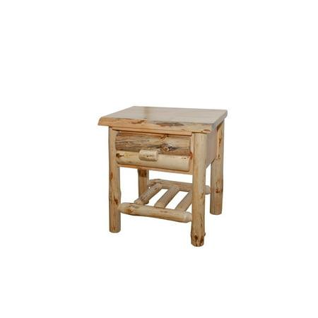 Kunkle Holdings LLC Rustic Pine Half Log End/Side Table