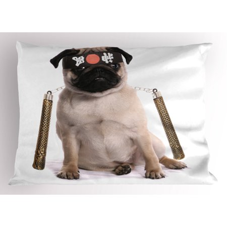 Pug Pillow Sham Ninja Puppy with Nunchuk Karate Dog Eastern Warrior Inspired Costume Pug Image, Decorative Standard Size Printed Pillowcase, 26 X 20 Inches, Cream Black Gold, by Ambesonne