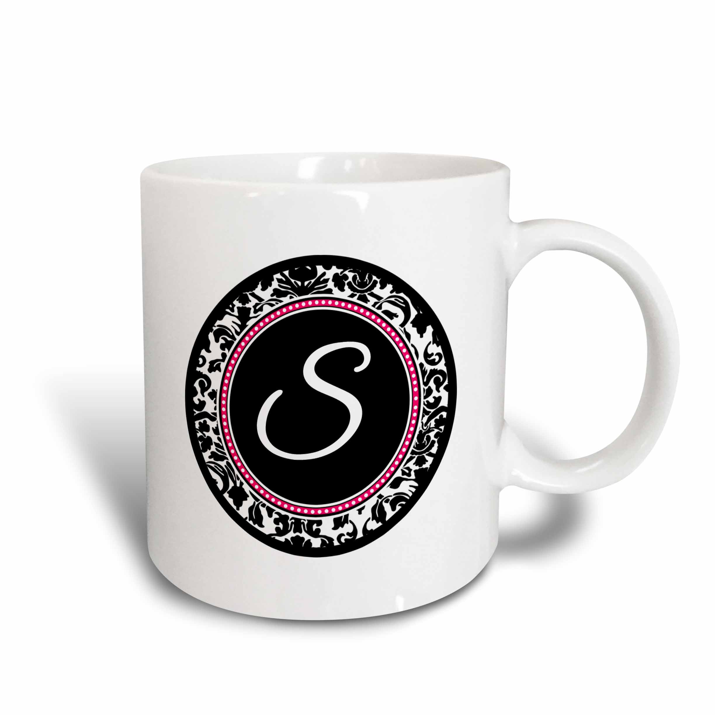 3dRose Letter S stylish monogrammed circle - girly personal initial personalized black damask with hot pink, Ceramic Mug, 11-ounce