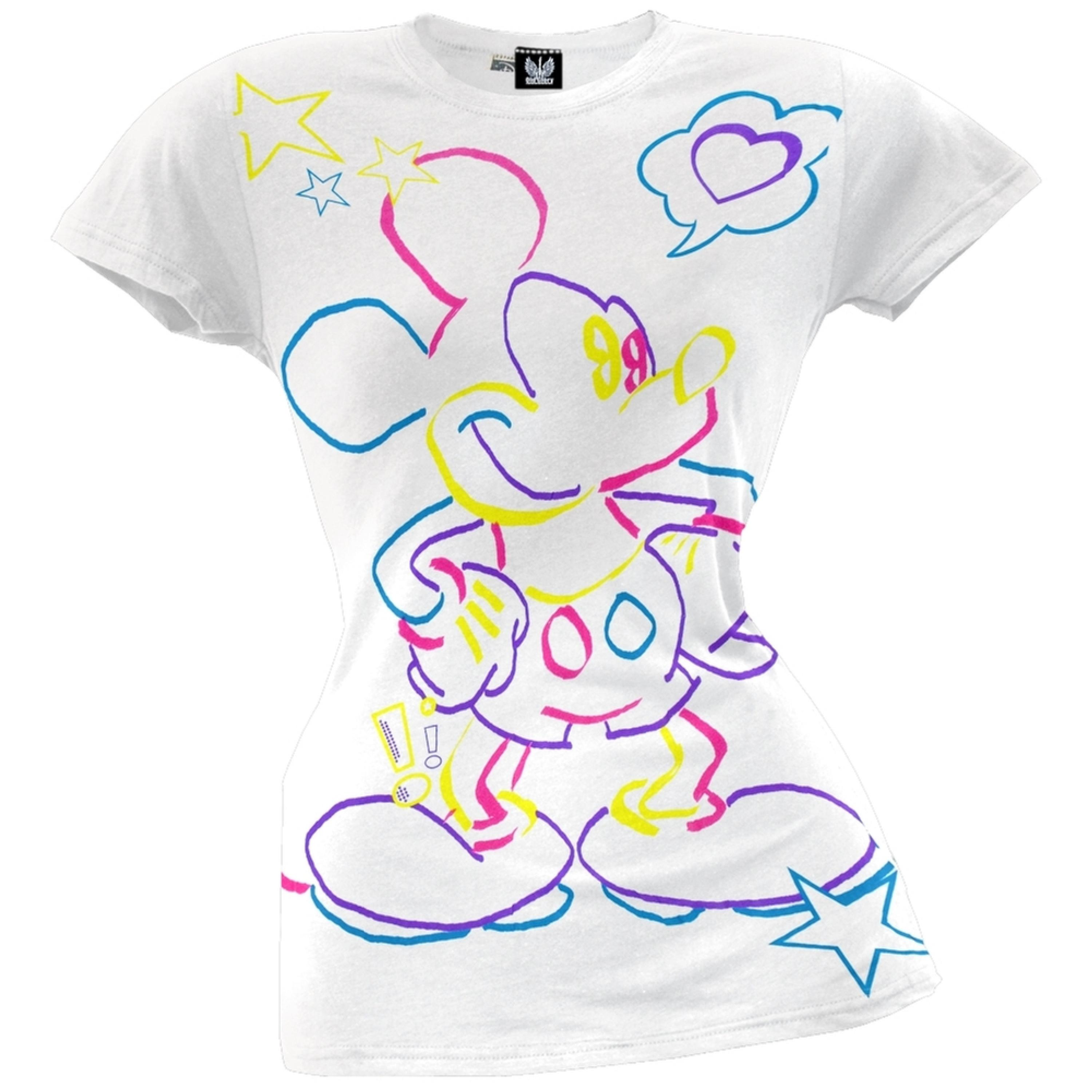 Mickey Mouse - Neon Juniors T-Shirt
