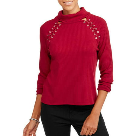 4a488e581d Poof Apparel - Juniors  Mockneck Sweater with Lace-Up Grommets ...