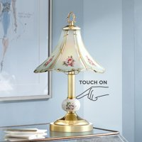 """Regency Hill Flower 16"""" High Polished Brass Touch On-Off Table Lamp"""