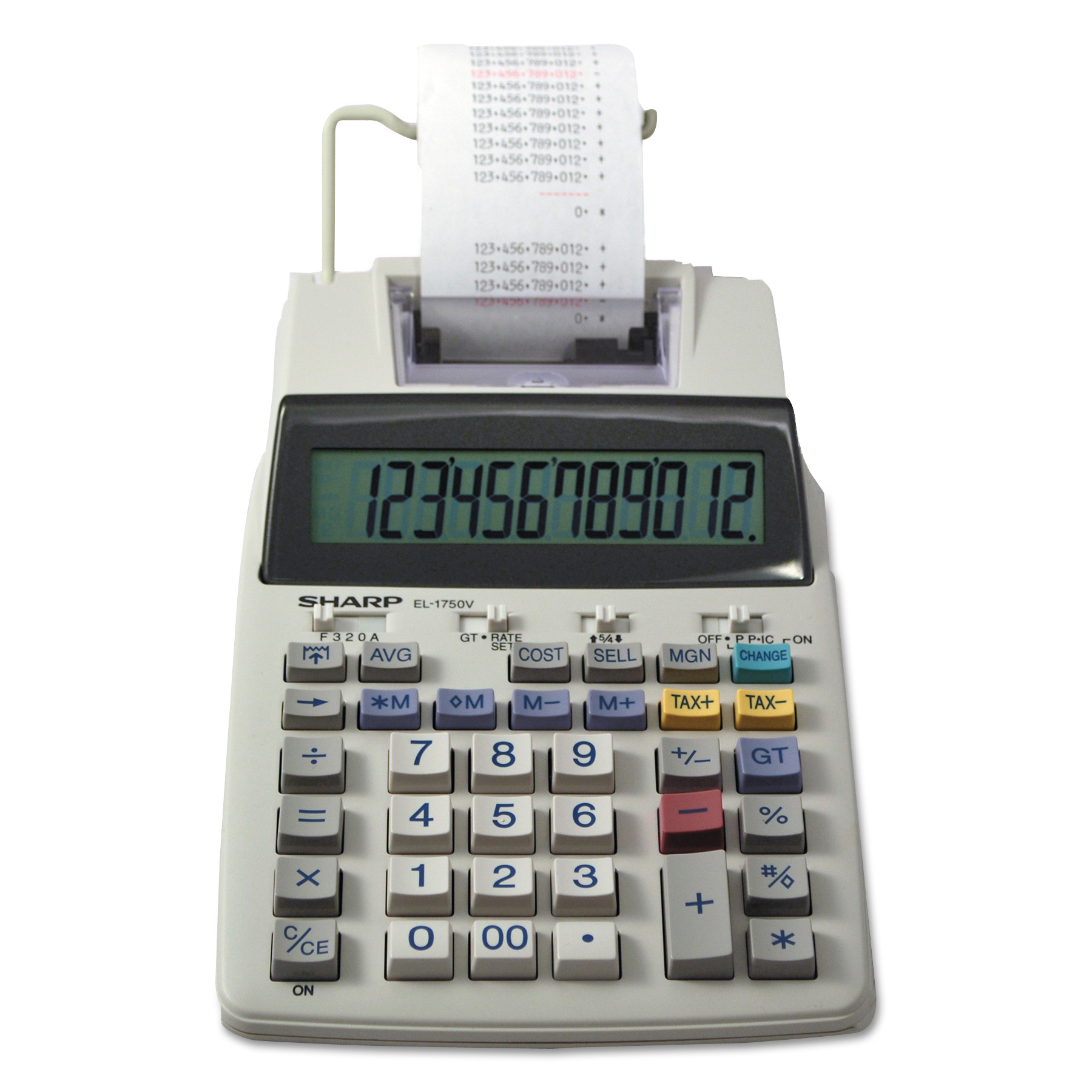 Sharp EL-1750V Two-Color Printing Calculator, Black/Red Print, 2 Lines/Sec