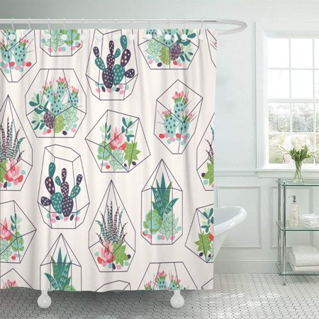 PKNMT Cactus Succulents and Cactuses Inky in Glass Terrariums Tropical Shower Curtain 60x72 inches ()