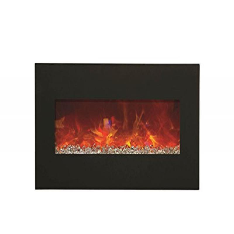 "26"" Electric Fireplace with 36"" x 23"" Black Glass & Back Light"
