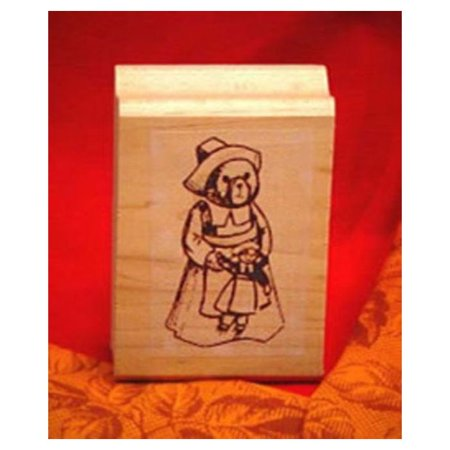 Girl Bear Pilgrim Art Rubber Stamp - Pilgrim Crafts