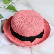 """Women Red Soft Straw Round Top Fedora Hat Ribbon Bowler 2"""" Floppy Roll Brim Casual Dome"""