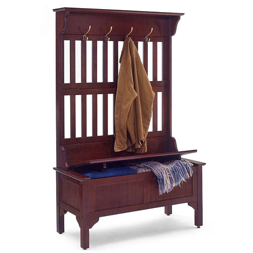 Hall Tree and Storage Bench, Cherry