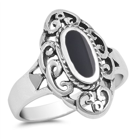 CHOOSE YOUR COLOR Wide Long Simulated Black Onyx Filigree Ring New .925 Sterling Silver Band