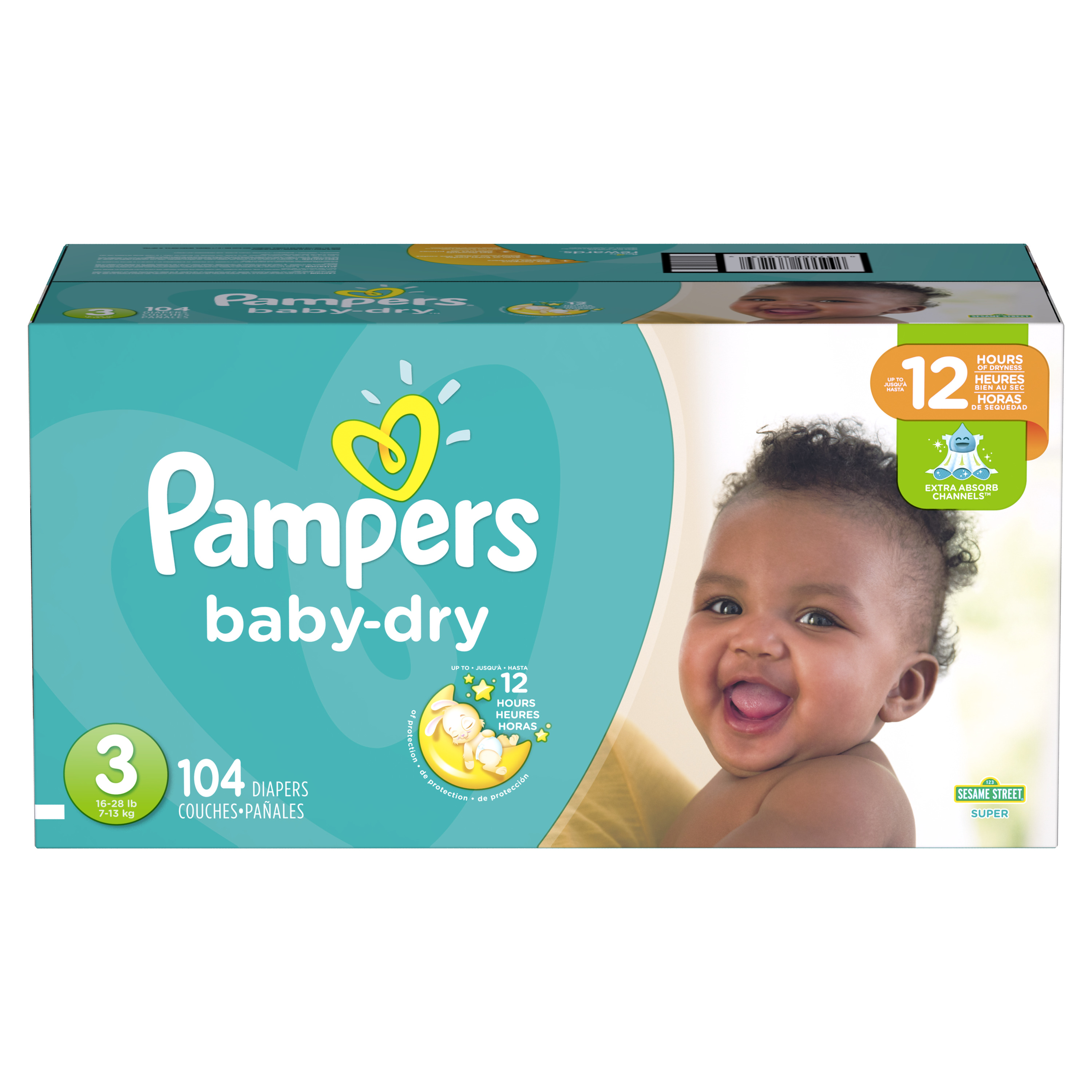 Pampers Baby-Dry Diapers Size 3, 104 Count