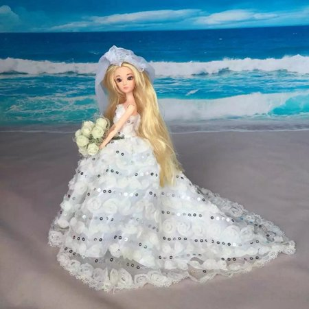 White Bridal Gown with Sequined Lace Details for Doll with Veil