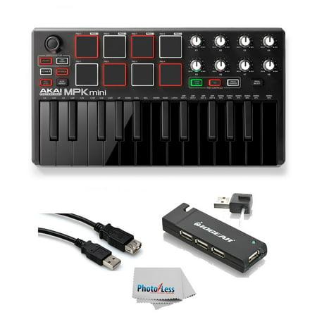 Akai MPK Mini MK2 25-Key USB MIDI Keyboard Controller + USB Hub + Hosa Ext