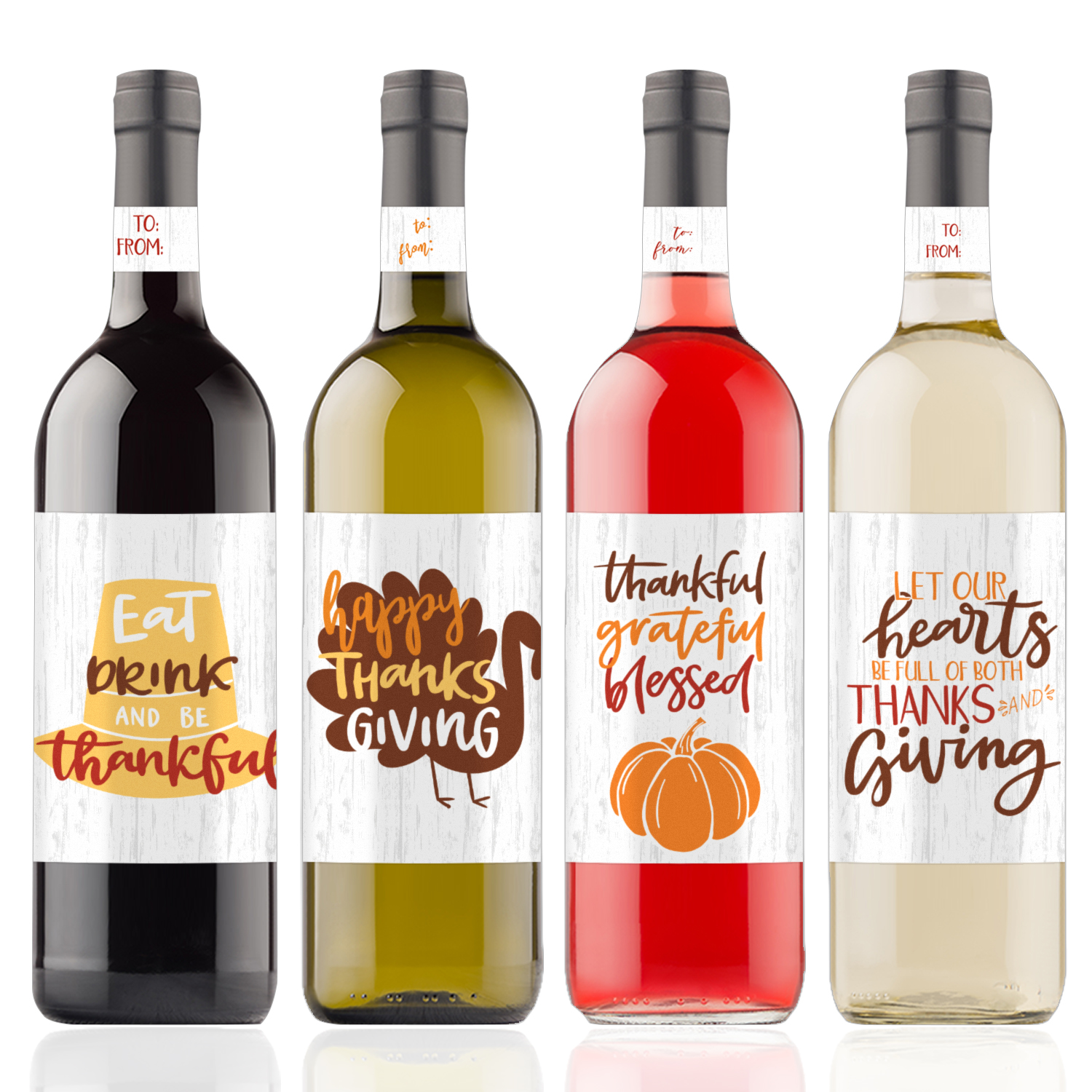 Thanksgiving Wine Bottle Stickers, 4ct - Thanksgiving Decorations - 4 Wine Labels with Neck Gift Tags