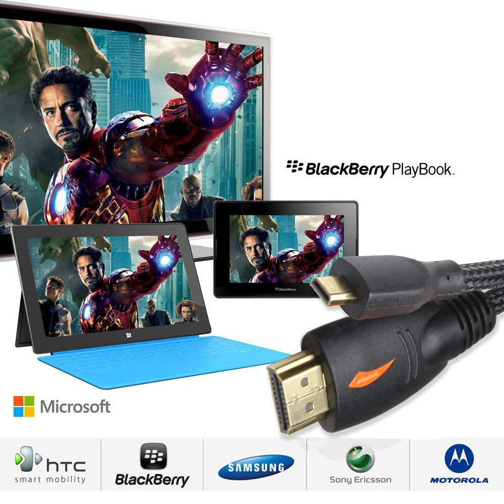 LivEditor Advanced 3ft Micro HDMI to HDMI Cable w/Nylon Net for Blackberry Playbook Tablet - image 2 de 7