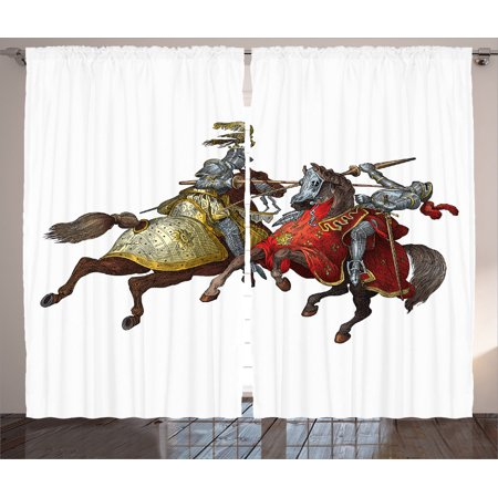 Medieval Decor Curtains 2 Panels Set, Middle Age Fighters Knights With Ancient Costume Renaissance Period Illustration Artwork, Living Room Bedroom Accessories, By -